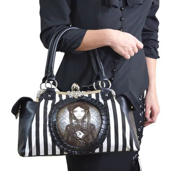 Restyle Victorian Romance Gothic Striped Dark Doll Cameo Kisslock Handbag