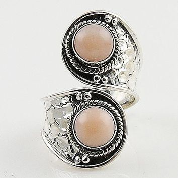 Pink Opal Sterling Silver Adjustable Ring