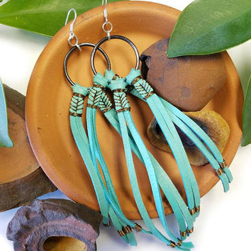 Leather Earrings, Dream Catcher Earrings, Leather Tassel, Native American Earring, Western Jewelry, Southwestern Jewelry, Turquoise Earrings