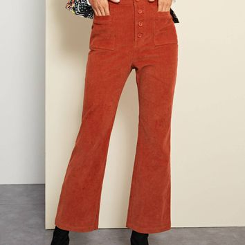 Button Fly Corduroy Flare Pants
