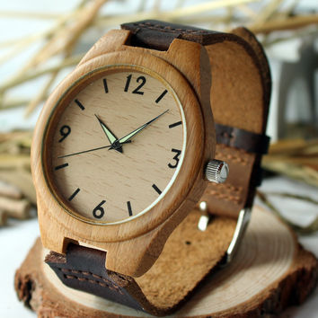 japanese quartz fluorescence analog wood bamboo watches men luxury brand bracelet wedding jewelry set bamboo wood men wristwatch
