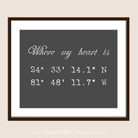 Longitude & Latitude Home Customizable Print