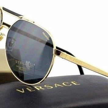 POLARIZED New VERSACE Gold Black Grey Aviator Greca Sunglasses VE 2155 1002/81