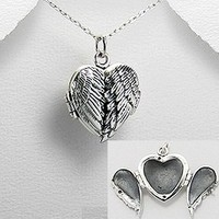 Exceptional Quality.925Sterling Silver Beautiful Locket Pendant Wings Guardian Angel Wing Heart Shape Design Detailed Locket Prayer Box Pendant