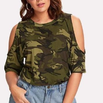Curvy Gals Cold Shoulder Camouflage Top