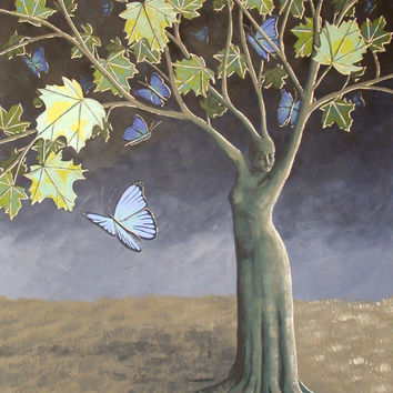 The Butterfly Fine Art Print, Tree of Life Print, Fine Art Print, Surreal Landscape