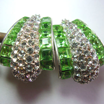 Clear Pave' & Green Rhinestone Earrings, Designer Silver Tone, Clip-On Vintage