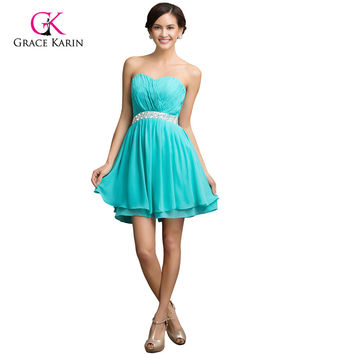 Lovely beadings Turquoise Mini robe Cocktail Party Dress Short Prom dresses Lace-Up back Dancewear Women Formal Gown 7534