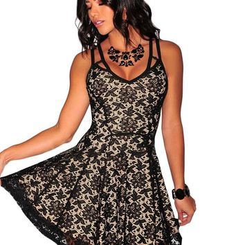 Black Lace Nude Illusion Babydoll Dress