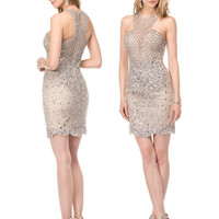 COLORS 1520 Beaded Sheath High Neck Homecoming Cocktail Dress