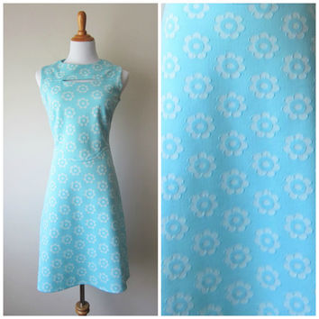 60s Mod A-Line Blue & White Daisies Dress, Cut Out Peekaboo Neck, Flower Power Powder Sky Blue Turquoise