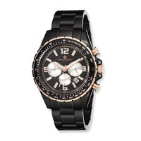 Charles Hubert Black-Plated Stainless Steel Black Dial Chronograph Watch