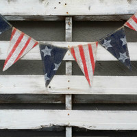 Primitive American Flag Burlap Banner, Patriotic Banner, July 4th Banner, Flag Banner, USA Banner, Welcome Home Sign, Grungy Primitive USA