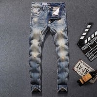 PANTS Designer jeans men Famous Brand Ripped jeans Denim Cotton Jeans Men Casual