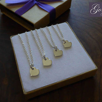 Four Silver Handmade Heart Charms 1.2mm