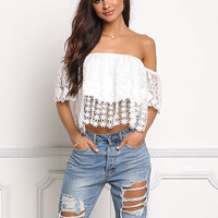White Embroidered Crochet Off Shoulder Crop Top