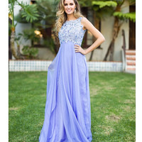 Preorder -  Periwinkle Empire Waist Embroidered Chiffon Gown Prom 2015