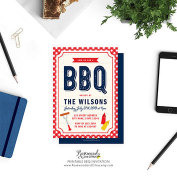 Printable BBQ Invitation, BBQ Party Invitation Printable, Summer BBQ Invitation, Summer Party Invitation, Red Gingham Barbecue, Blue