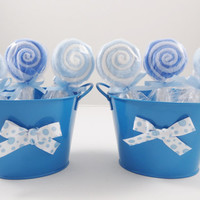 Baby Boy Washcloth Lollipop Bucket Shower Decoration