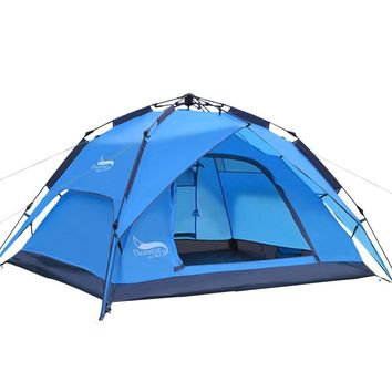 Outdoor 3 Man Camping Hiking Tent Doulbe Layer Waterproof Sun Shelter Pop up Tent UV 3.8KG Backpacks Tent Picnic Tent Party