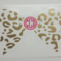 Perfect Leopard Bow Monogrammed Decal