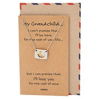 Rica Love You to the Moon and Back Necklace and Greeting Card, Granddaughter Gifts