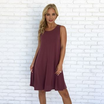 Scoop Back Jersey Dress In Plum
