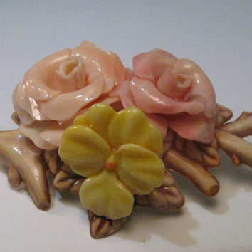 Vintage Celluloid Rose & Pansy Floral Brooch with branch and leaves - Pink, Yellow, Tan, Mid-Century