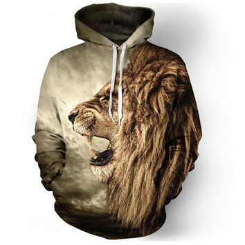 Lion Graphic Print Drawstring Hood Pocket Sweater