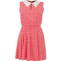 Madam Rage Red Floral Collar Sleeveless Dress