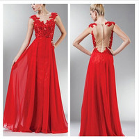 Amazing Red EVening Gowns Dress A Line Design See Through Prom Dresses Color Back Cap Sleeve Lace And Chiffon Beach Prom Dresses