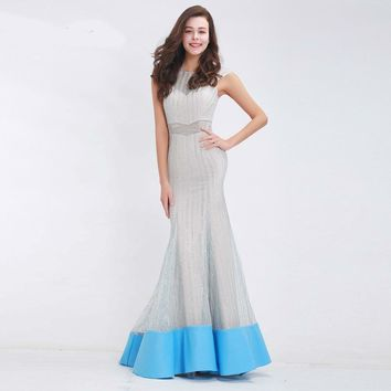 Luxury Sliver Evening Dress Long Mermaid O-neck Cap Sleeve See through Sequined Floor-Length Maxi Long Dress Formal Party Gowns