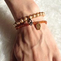 Skull Stretch Bracelet Set - Orange and Almond - Handmade, Glass Beads, Faux Pearls, Skull Charms, Beaded, Stackable, Layer, Beaded, Trendy