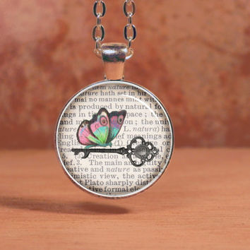Vintage Key Butterfly Printed on Vintage Page Pendant Necklace Inspiration Jewelry