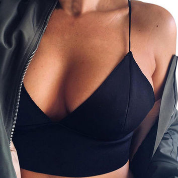 Summer Style Halter Camisole Tank Top For Ladies Casual Short Women Tops V Neck Strap Sleeveless Crop Tank Top Woman