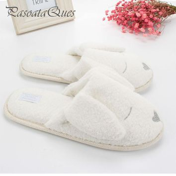 Cute Dog Animal Pattern Cotton Home Slippers Women Indoor Shoes For Bedroom Adult Gues