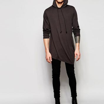 Cheap Monday Descent Angle Hem Hooded Long Sleeve Top in Distressed Black Overdye
