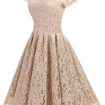 Retro Floral Lace Prom Dresses Short Homecoming Dresses Cap Sleeves Vintage Cocktail Bridesmaid Dresses