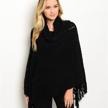Women Fashion Poncho Black Soft Fringe Shawl Vest Sweater Wrap Cowl Neck Casual