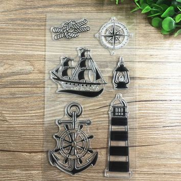 Silicone Boat Anchor Clear Rubber Stamp Sheet DIY Scrapbooking Paper Card Decorative Crafts Accessories Sealing Stamp Stationery