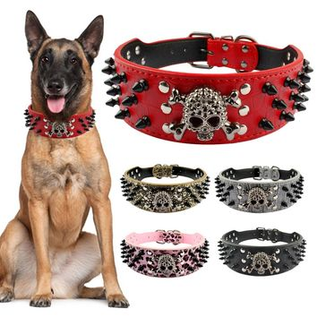 "2"" Wide Spiked Studded Leather Dog Collar Bullet Rivets With Cool Skull Pet Accessories For Meduim Large Dogs Pitbull Boxer S-XL"