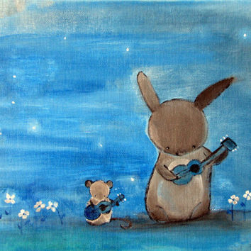 Whimsical Nursery Decor 12 x 9 Artwork for Kids Bunny by andralynn