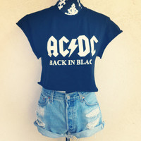 AC / DC ACDC Crop Shirt by NewSpiritVintage on Etsy