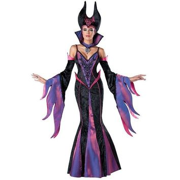 Hot Sale In Character Maleficent Costume Adult Dark Sorceress Womens Halloween Evil Queen Fancy Dress Costume Disfraces W159341