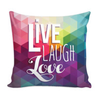 Live Laugh Love Colorful Diamond Pillow Cover