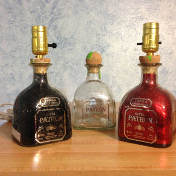 Patron Tequila Liquor Bottle Lamp   Great for Man Cave Bar or Dorm