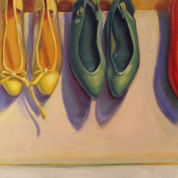 Shoes oil painting PRINT 8x10 fine art by brandycattoor on Etsy