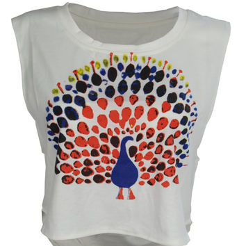 Peacock print crop top shirt womens ladies tshirt