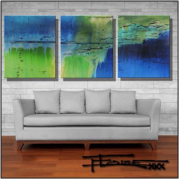 Abstract Painting, Triptych, Modern canvas wall art, 90 inch FLOAT by ELOISE