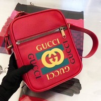 Gucci New Fashion Shopping Bag Leather Single Crossbody Shoulder Bag Women Satchel Red